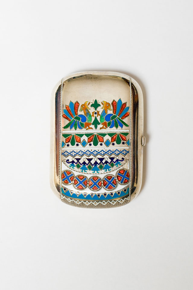 Enamelled Silver Purse with green silk lining, St Petersburg, 1900