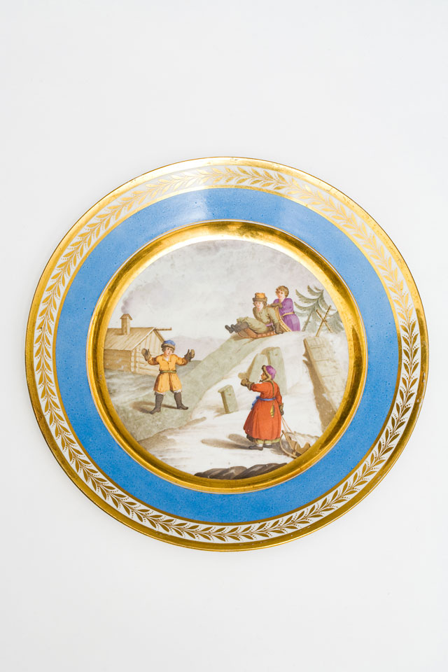 Russian porcelain plate with children sledging