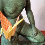 photo for a event, sculpture with a origami crane (for a Japanese inspired afternoon of fun creating Origami animals, a tradition paper Crane, a cat or dog, or the ever popular at Dorich House Museum, a squirrel