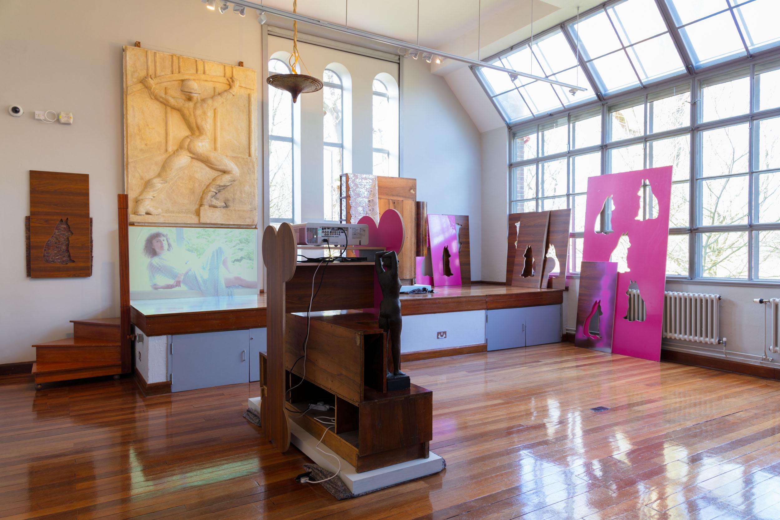 Hilary Lloyd - Awful Girls exhibition. Dorich House Museum modelling studio.