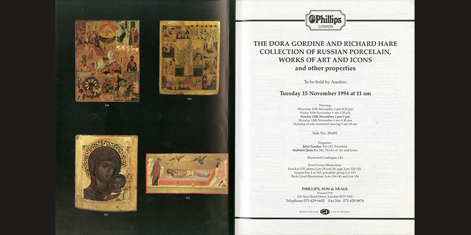 The auction catalogue for one of the main sales of Dora Gordine and Richard Hare's Russian art collection, Phillips Auctioneers, London, 15 November 1994